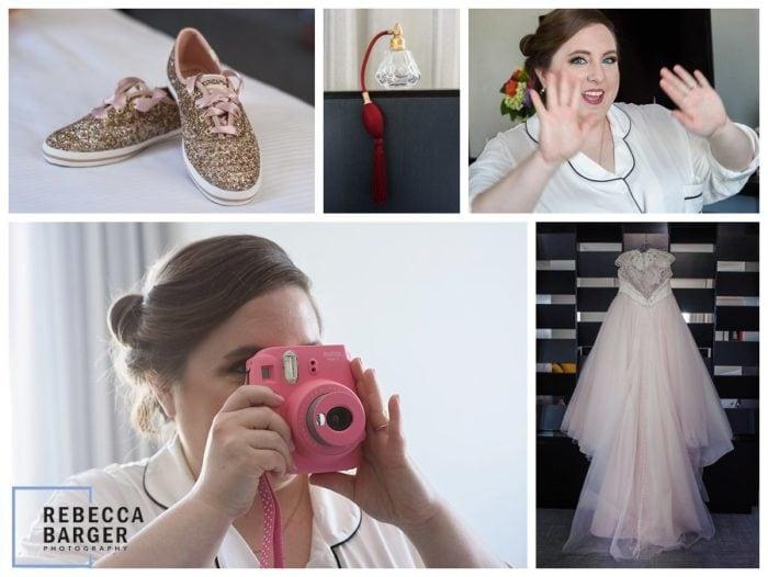 bride preparing for wedding at Loews hotel in philadelphia blush bijou gown ardmore
