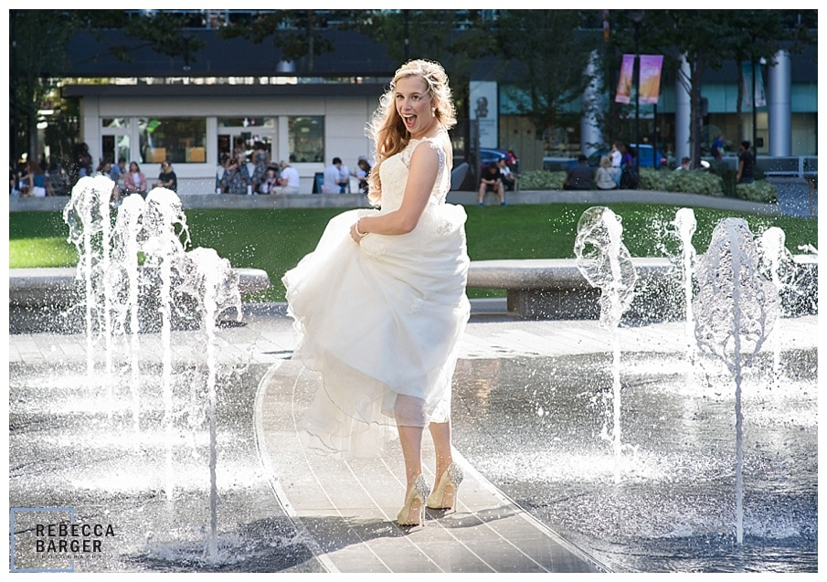 bride in summer fountain Phila.